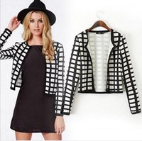 Wholesale New Arrival Nice Autumn Women Suits and Blazers European and American Wild Plaid Suit Short Cardigan Coats Long Sleeve Women Suits
