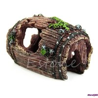 Wholesale Hot Aquarium Fish Tank Resin Barrel Caves Ornament Furnishing Landscaping Decoration