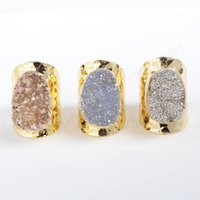 Wholesale Hot New Gold Plated Oval Natural Agate Titanium Rainbow Druzy Band Ring G0890
