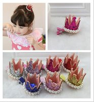 Wholesale Korean children hair ornaments head ornaments perspective crown pearl hairpin Hair Accessories
