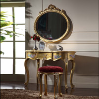 antique gold mirror wood - Italian Classic furniture high end classic solid wood furniture gold leaf gilding dressing table and mirror