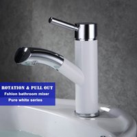 Wholesale White paint new design bathroom basin deck mounted water mixer high quality pull out and rotation faucet no