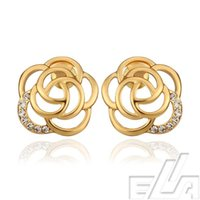 antique gold jewellery for sale - Bargain sale jewellery k real yellow rose gold plated stud earring fine jewelry antique earrings for wife