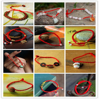 beaded string bracelet - Hot Sale Original Chinese Red Ethnic Style Fortune Bringing in Silk String Small Beads Hand braided Lucky Bracelets Specials FREE SIZE