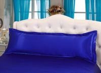 Wholesale Royal blue Double pillowcase silk satin pillowcase pillowcases pillowslip pillow case pillow sack Long Pillow Case X150cm