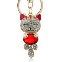Wholesale Lucky Enamel Smile Cat Crystal Rhinestone HandBag Keyring Keychain Purse Bag Buckle For Car Party Gift Keyfob Jewelry K218