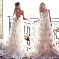 Wholesale Long Layered Skirts - Lurelly Bridal Lace Applique Layered Skirts Boho Beach Spaghetti Wedding Dresses 2017 Backless Full length Elegant Wedding Gowns