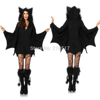 bats movie - New Adult Womens Black Witch Halloween cosplay costume Party Vampire Costumes Outfit Fancy Bat Devil Cosplay Pirate Dress F