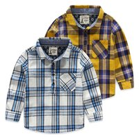 Wholesale 2016 new children s shirts for boys spring autumn long sleeves children fashion blouse hedging plaid cotton kids clothing