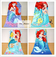 Wholesale Kids Mermaid Towels Cotton Mermaid Tail Towel Princess Bikini Beach Towels Baby Bath Towels Bathroom Swim Towels Robes Cloak B172