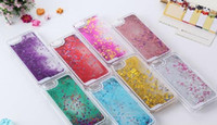 Wholesale 2016 Fashion Transparent Liquid cell phone case Glitter Star Quicksand Liquid Phone Back Cover for iphone plus s plus