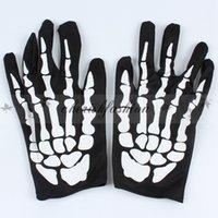 Wholesale Fedex DHL Free Hallowen Performance Dance Skeleton Gloves Devil Skull Gloves Punk Pure Black Finger Against UV Short Gloves Z492 B