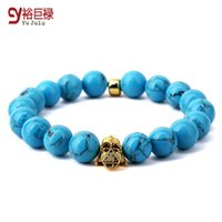 Wholesale 2016 New Hip Hop Fashion Buddha Head Blue Beads Orchid Turquoise Bracelet With Elastic Rope Two Size For Men Women With Gift Box