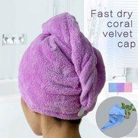 Wholesale Towels Bathroom Hair Towel pc Womens Girls Magic Hair Drying Hat Shower Cap Salon Quick Dry Bath Microfiber Fabric