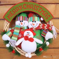 christmas wreath ring - Christmas rattan ring wreath door hanging Plush Santa Snowman elk gift ornaments layout window