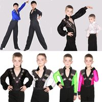 ballroom dance shirts - Classical England Lantern Sleeve Boys Latin Dance Shirts Velvet Lace Rhinstone Ballroom Dance Costumes Tops Stage Competion Dance Wear