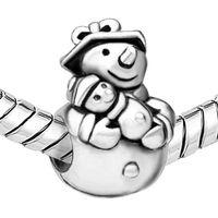 achat en gros de bracelets de plaque bébé-Merry Christmas Mom and Baby Heart Love Pendentifs de bonhomme de neige en perle de placage au rhodium S'adapte au bracelet Pandora