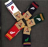 Wholesale Palace Skateboards Running outdoor Sports Socks Men Women New Fashion P Letter Print Striped Cotton Colors Hip hop Streetwear Socks