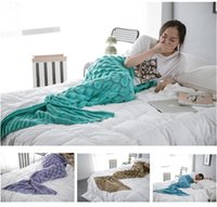 Wholesale 90x195CM Fashion Knitted Mermaid Blanket Super Soft Warmer Blanket Bed Sleeping Costume Air condition Blanket For children