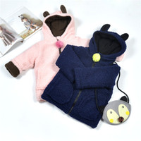 Wholesale 2016 Boys Girls Childrens Outwear Clothing Autumn Winter Long Sleeve Hooded Tops More Velvet Thick Cotton Kids Clothes