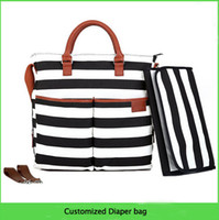 Wholesale Factory customized Diaper Bag bag Canvas Polyester Black and White Stripe Mummy Baby Changing Bag with Matching Mat Pad Tan Tri