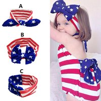 baby ear drops - Flag Kids Girls Baby children accessories national day baby rabbit ears headband hair knotted Headband knot headwrap turban drop shipping