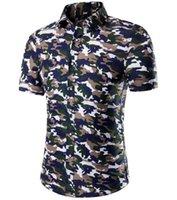 Cheap Summer 2016 Men's Shirt Short-sleeved shirt Slim army green camouflage cotton short-sleeved men's shirts Large size M-5XL