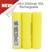 Wholesale 2016 Original HG2 HE4 Batteries mah a Battery High Drain v for Ecig Mechanical Mod By Fedex