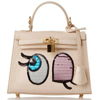 big bags on sale - 2016 New Arrival Sequins Big Eyes Women Designer Leather handbags Cute Bags for Girls PU Leather Designer Bags on Sale