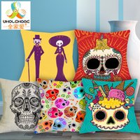 Wholesale 1 cm Cute Color Suger Skull Cushions Linen Cushion Cover The Mexico Day of the Dead Throw Pillow For Living Bed Room