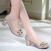 designer heels - 2016 Fashion new High Heel Woman Office Dress Shoe Sandal Boot Gold And Black Colors Thick Heel Casual Designer Dress Shoes