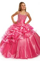 Wholesale 2016 Red Glitz Pageant Dresses Pageant Ball Gowns For Kids Girls Pageant Dresses Plus Sizes Kid Formal Wear Backless Flower girl Dress New