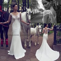bead fringe - Nurit Hen Cap Sleeve Sweetheart Neckline Illusion Vneck Mermaid Fringe Beaded Bodice Wedding Dress Sexy Outdoor Garden Bridal Dresses