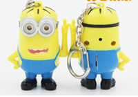 Wholesale Minion D Key Chain Minions Keychain Key Ring Boys Girls Gifts Speakig Lighting Children toys Yellow