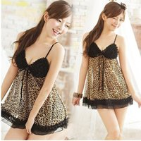 Cheap Wholesale-Women Lace Leopard Sexy V-neck Straps One Piece Dress Lingerie Nightgown Sleepwear PY12