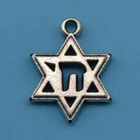 antique judaica - 20pcs Judaica Star of David Chai Charm Jewelry zinc alloy antique silver plated