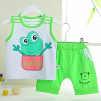 baby frog cartoon - set Cotton High Quality M Baby Clothing Vest Shorts Boys Girls Clothes Cartoon Frog
