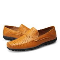 Wholesale Genuine Leather Men Loafers Shoes Handmade Moccasins Men Casual Shoes Slip On Flats Men Driving Shoes Size Sapato Masculino
