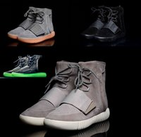 b q lighting - High Q Kanye West Boost Light Grey Gum Glow in the dark shoes Sneakers High top leather Ankle Boots Size
