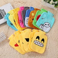Wholesale Emoji Mini Plush Hot Water Bottle Hand Warmer Winter PVC Bouillotte Water Filling Hot Water Bag Removable Washable