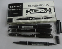Wholesale 6X New Tattoo Skin Oily Marking Pen Double Ended Black Fine Thick Tip Marker