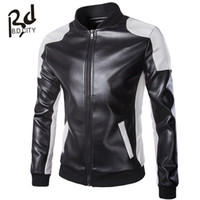 Wholesale Fall new leather jacket men Leather Mandarin Collar Contrast Color Coat male Leather jacket men mens leather jackets and coats