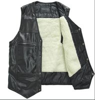 best leather vests - Season Discount Hot Men s Leather Vest Buttons Down V Neck Leather Waistcoat Cotton or Wool Fur Inner Warm L XXXL Best Price