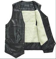 best down vest - Season Discount Hot Men s Leather Vest Buttons Down V Neck Leather Waistcoat Cotton or Wool Fur Inner Warm L XXXL Best Price