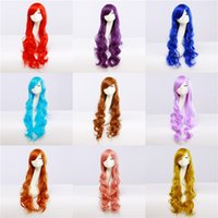 Wholesale Anime Cosplay Wigs colors cm Synthetic Hair Wig stage Cosplay Colored Halloween Costume cheap Long Curly Wigs For Party