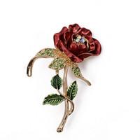 Wholesale 2016 hot sale Flowers Enamel rhinestone Crystal Rose Brooches for women Wedding Bridal Brooch