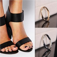 Wholesale rings New Fashion Gold Silver Plated Toe Rings Women Personality Summer Alloy Glossy Circle Resizable Foot Ring Jewelry SR415