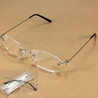 Wholesale New Unisex Clear Rimless Reading Glasses Spectacles Eyeglasses with Case E00240 CAD