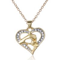 big diamond pendant - Hot New European and American big hand Pull tiny hand Mother necklace alloy Inlay Diamond chain Ms necklace