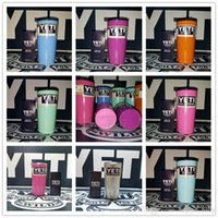 Wholesale 8 Colors oz YETI Rambler Tumbler Cup Coolers Powder Coated Bilayer Vacuum Insulation Cup Yeti Tumbler Mug Stainless Steel Cup